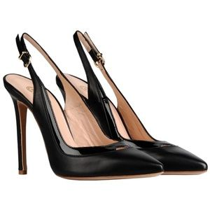 Shoes - Black leather slingbacks made in Italy